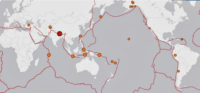 Trong 24 giờ qua, thế giới có đến 31 trận động đất