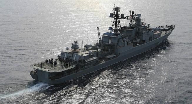 Tàu khu trục chống ngầm hiện đại của Nga tập trận ở Địa Trung Hải