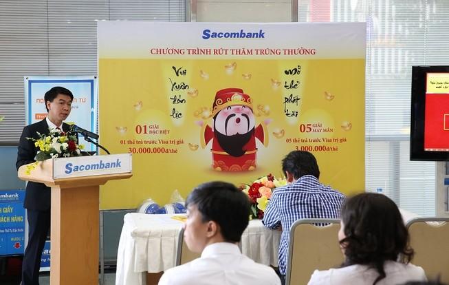 """Sacombank rút thăm may mắn đợt 1 """"Vui xuân đón lộc – Mở thẻ phát tài"""""""