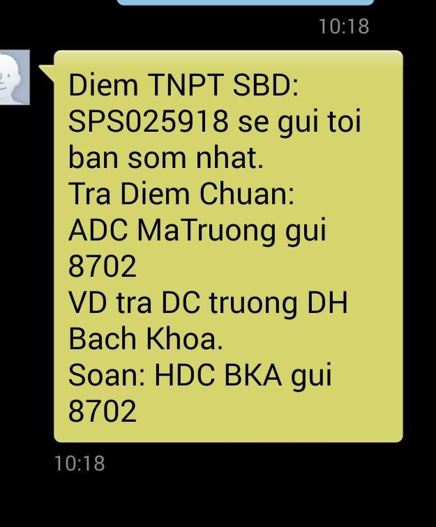 Cảnh báo tin nhắn tra cứu điểm thi qua tổng đài 8702