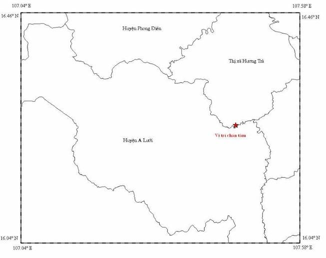 Động đất 2,5 độ Richter tại thị xã Hương Trà