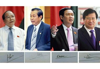 Chính phủ giới thiệu chữ ký của Thủ tướng và 3 phó thủ tướng