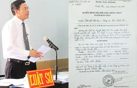 Thu hồi giấy chứng nhận người bào chữa trái luật