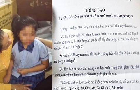 Một học sinh tiểu học bị kẻ lạ chở đi