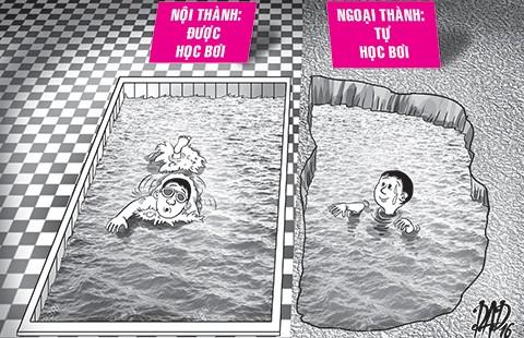 Mùa hè cho con học bơi
