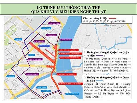 Cấm lưu thông hàng loạt đường ở trung tâm TP.HCM