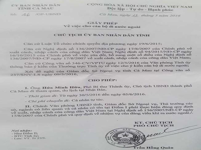 Chủ tịch TP Cà Mau khẳng định đi Nhật là vô tư