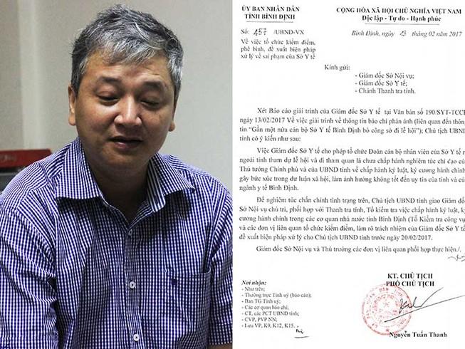 Xử lý trách nhiệm giám đốc Sở Y tế tỉnh Bình Định