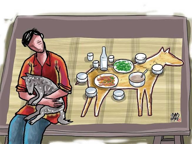Image result for bàn tiệc thịt chó