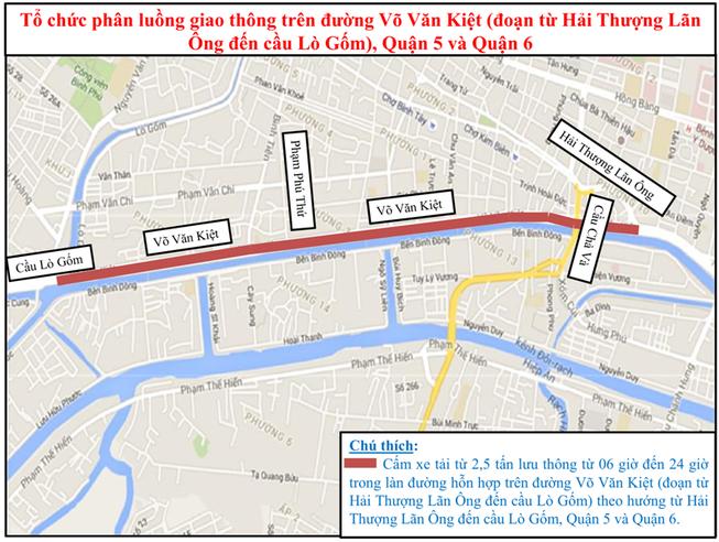 Cấm xe tải từ trên 2,5 tấn ra vào các chành dọc đường Võ Văn Kiệt