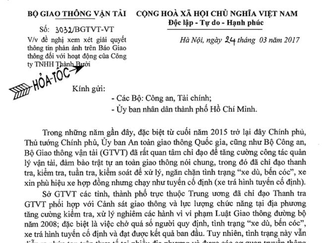 Bộ GTVT đề nghị làm rõ vi phạm của Công ty Thành Bưởi