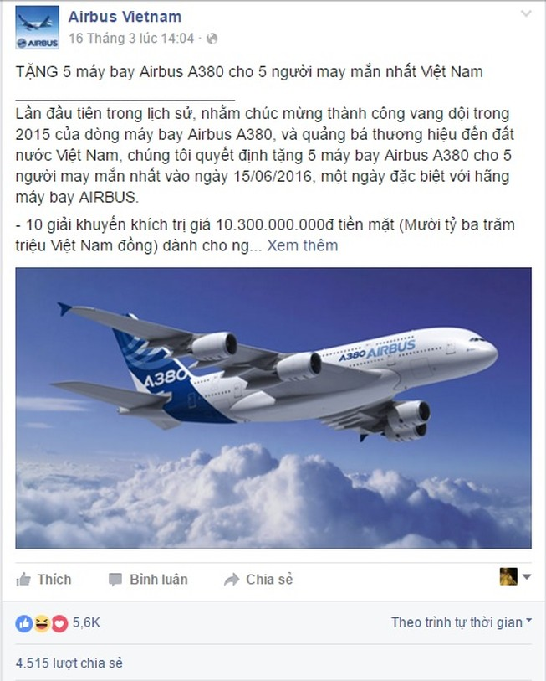 Tặng xe máy SH, máy bay Airbus thông qua... Facebook
