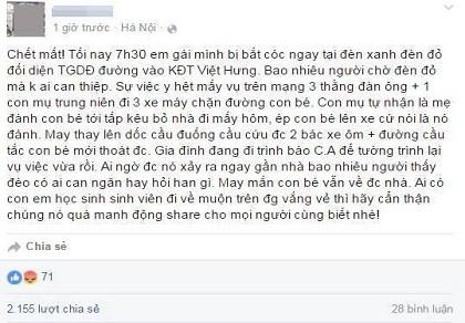 Thông tin bé gái bị bắt cóc ở quận Long Biên là bịa đặt