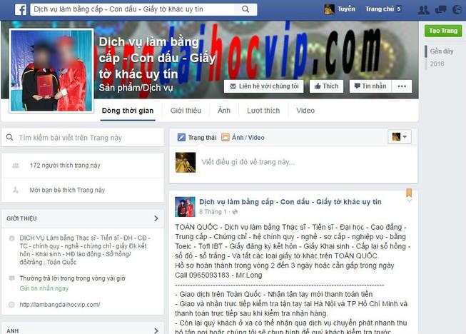 Dịch vụ làm bằng, giấy tờ giả tràn lan trên Facebook