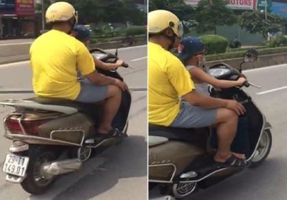 Công an làm việc với người cha cho con 6 tuổi lái xe máy