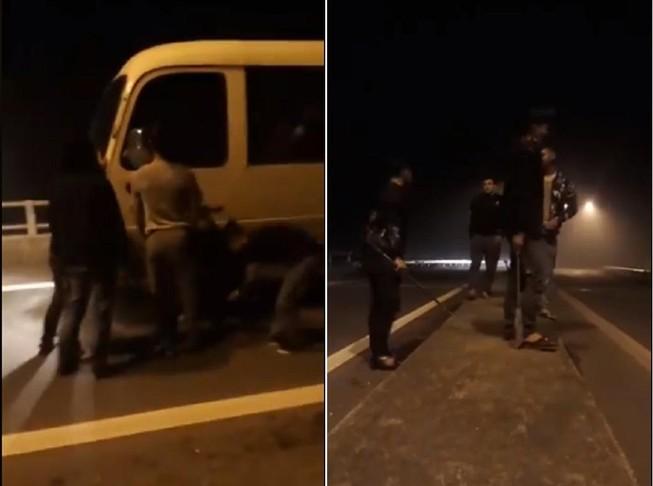 Hàng chục thanh niên cầm dao, chặn xe ô tô trên quốc lộ