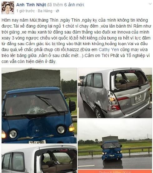 Nhật Tinh Anh gặp tai nạn giao thông khi đi diễn