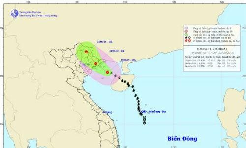 Bão số 1 cách bờ biển Quảng Ninh, Hải Phòng 150km