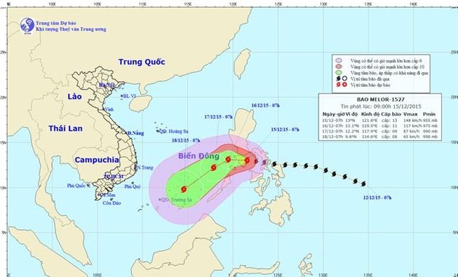 Tối 15-12, hoàn lưu bão Melor gây gió mạnh cấp 12 ở biển Đông