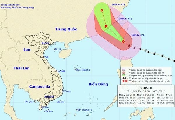 Chiều nay, siêu bão Meranti đi vào biển Đông với sức gió cấp 16