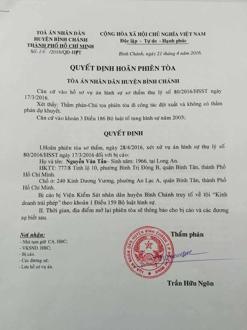 Tòa Bình Chánh hoãn xử vụ Xin Chào vì thẩm phán bận đột xuất - ảnh 1