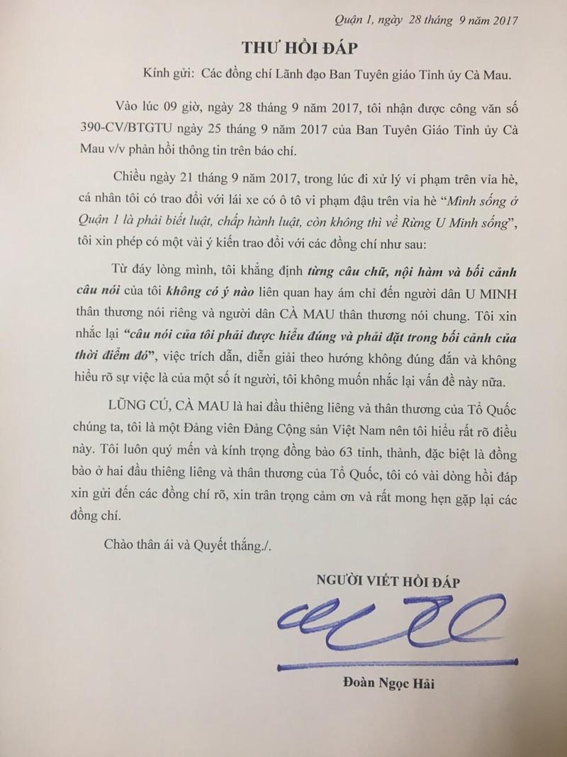 Ông Đoàn Ngọc Hải gửi thư hồi đáp Ban Tuyên giáo Cà Mau - ảnh 1