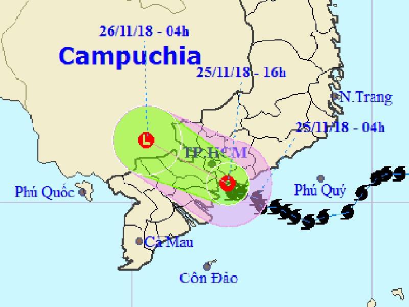 Bão số 9 thành áp thấp, suy yếu ở Campuchia - ảnh 1