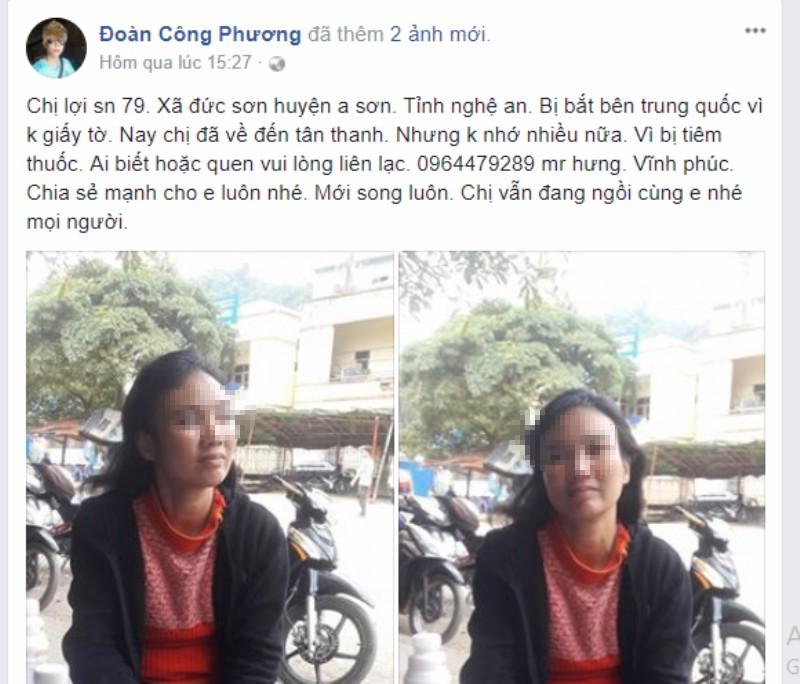 Facebooker đưa 1 phụ nữ bị lạc ở Trung Quốc về Việt Nam - ảnh 1