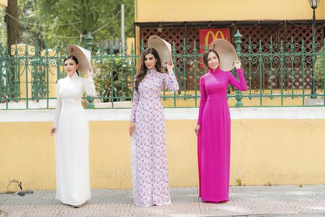 Hoa hậu Pháp diện áo dài, nón lá trên phố Sài Gòn - ảnh 4