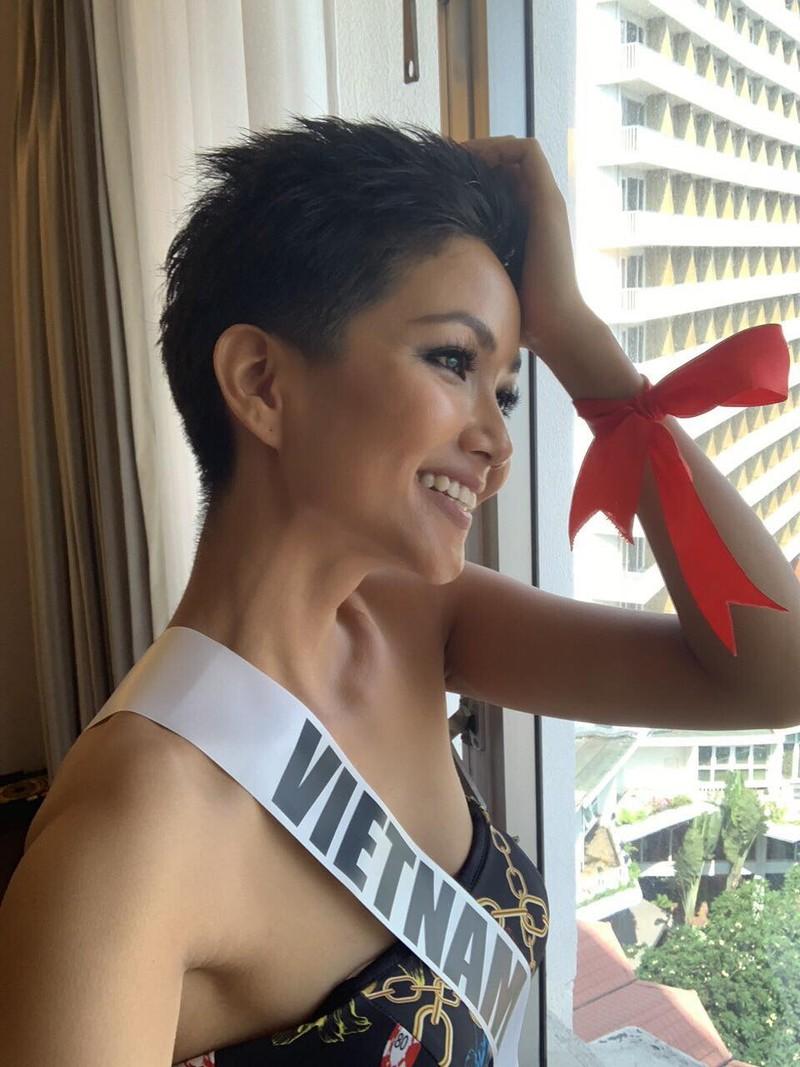 H'Hen Niê gây chú ý tại Miss Universe với dải băng đỏ trên tay - ảnh 3