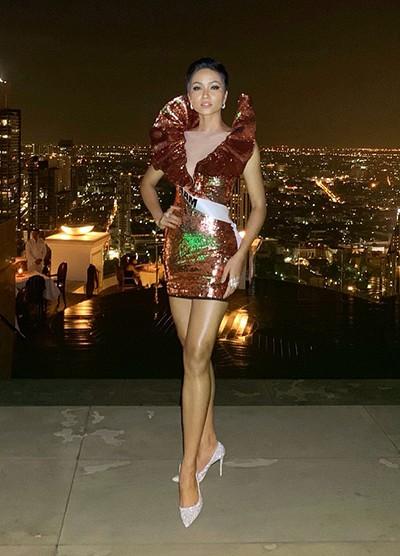 H'Hen Niê gây chú ý tại Miss Universe với dải băng đỏ trên tay - ảnh 1