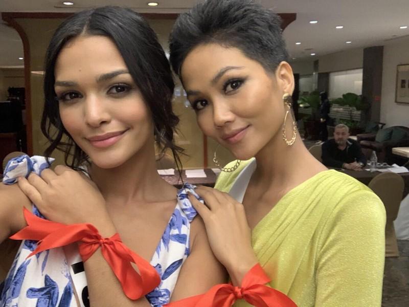 H'Hen Niê gây chú ý tại Miss Universe với dải băng đỏ trên tay - ảnh 8