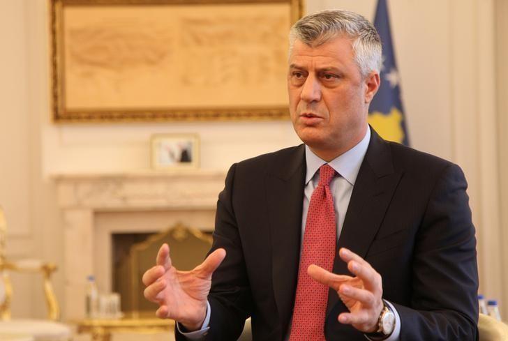 Lãnh đạo Kosovo Hashim Thaci trong một cuộc trả lời phỏng vấn Reuters tại Pristina (Kosovo) ngày 16-1. Ảnh: REUTERS