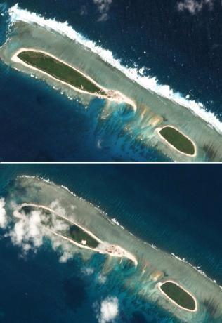 Hình ảnh vệ tinh chụp đảo Bắc ở Hoàng Sa của Việt Nam mà Trung Quốc đang kiểm soát trái phép, ngày 15-2 (trên) và ngày 6-3 (dưới). Ảnh: PLANET LAB