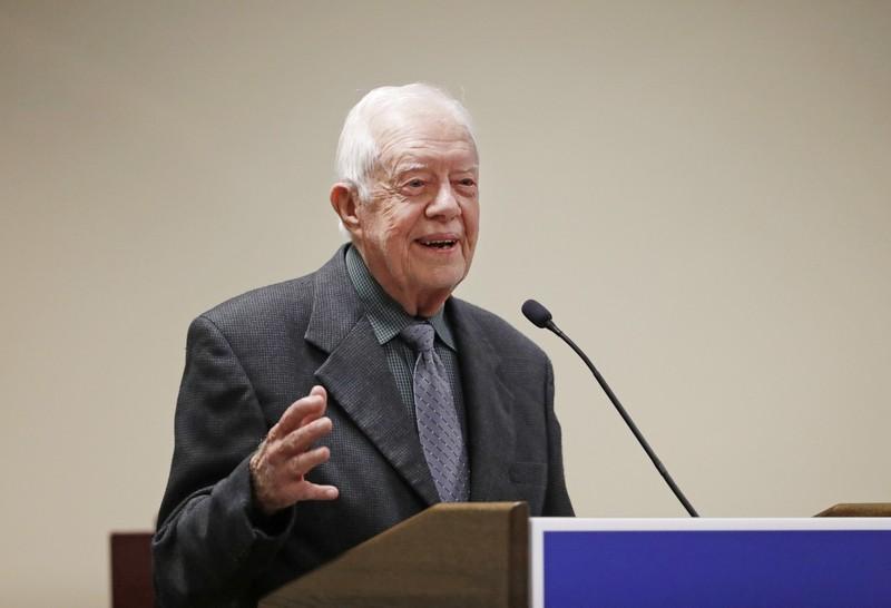 Cựu Tổng thống Mỹ Jimmy Carter phát biểu tại một hội nghị ở bang Atlanta năm 2016. Ảnh: AP