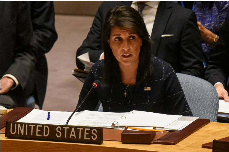 Nữ đại sứ Mỹ tại LHQ trong kỳ hop Hội đồng Bảo an ngày 11-9. Ảnh: REUTERS