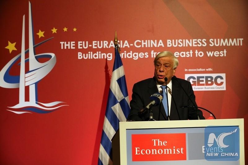 Tổng thống Hy Lạp Prokopis Pavlopoulos khen ngợi Sáng kiến Vành đai và Con đường tại hội nghị thượng đỉnh kinh doanh Liên minh châu Âu-Á Âu-Trung Quốc ngày 9-10 ở Athens (Hy Lạp). Ảnh: THX