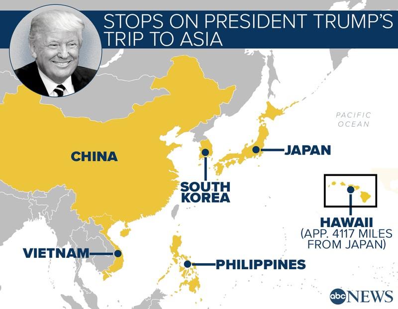 Các điểm đến trong chuyến công du châu Á sắp tới của Tổng thống Trump: dừng chân ở Hawaii, sau đó sang Nhật, Hàn Quốc, Trung Quốc, Việt Nam, và Philippines. Ảnh: ABC NEWS