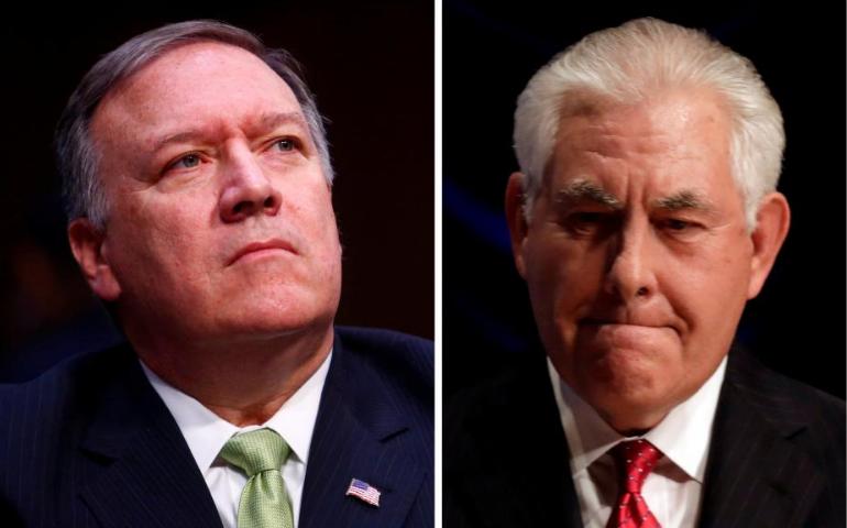 Người thay thế Ngoại trưởng Tillerson (phải) sẽ là Giám đốc CIA Pompeo (trái). Ảnh: REUTERS