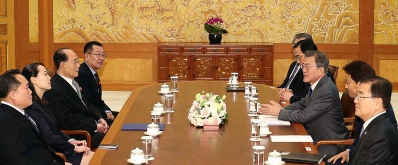 Bà Kim Yo-jong, ông Kim Yong-nam (giữa, trái) và các quan chức cấp cao Triều Tiên trong cuộc diện kiến Tổng thống Hàn Quốc Moon Jae-in (giữa, phải) tại Nhà Xanh sáng 10-2. Ảnh: AP