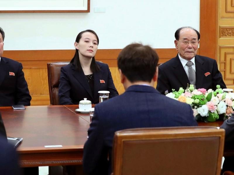 Bà Kim Yo-jong trong cuộc diện kiến Tổng thống Moon Jae-in tại Nhà Xanh ngày 10-2. Ảnh: AP