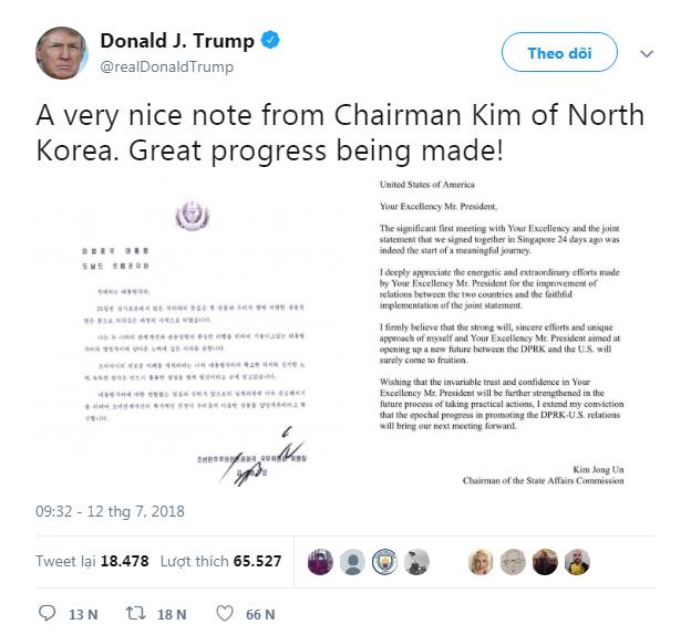 Ông Trump khen thư ông Kim 'hay' - ảnh 1