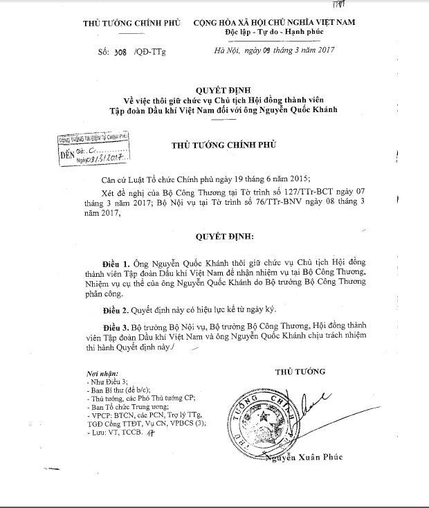 Rút Chủ tịch PVN Nguyễn Quốc Khánh về Bộ Công Thương - ảnh 1