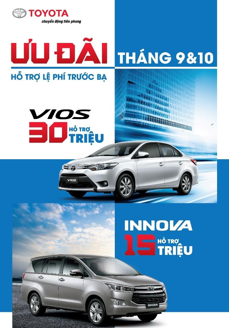 Toyota khuyến mãi mua xe Vios, Innova tháng 9 và 10 - ảnh 1