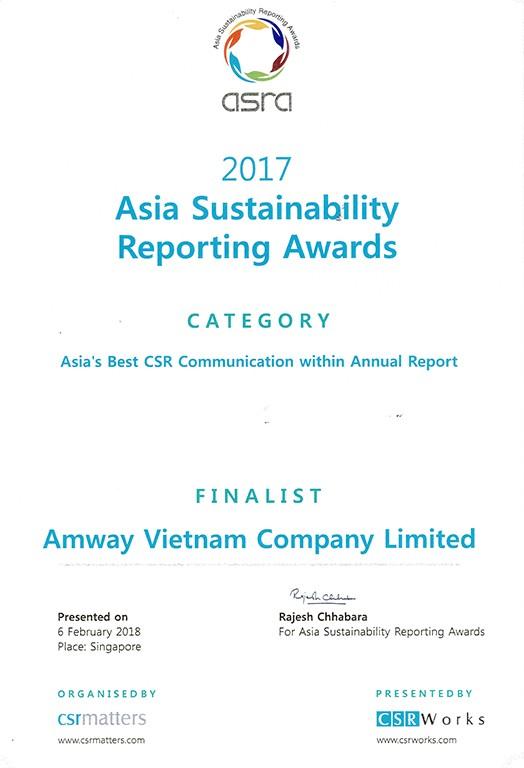 Amway-Top 4 DN phát triển bền vững tốt nhất châu Á 2017 - ảnh 1