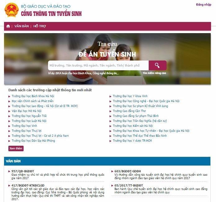 Các trường ĐH, trường CĐ sư phạm tại địa chỉ http://thituyensinh.vn