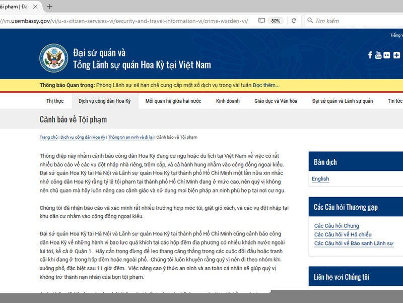 Công an TP.HCM nói về 'cảnh báo tội phạm' của ĐSQ Mỹ - ảnh 1