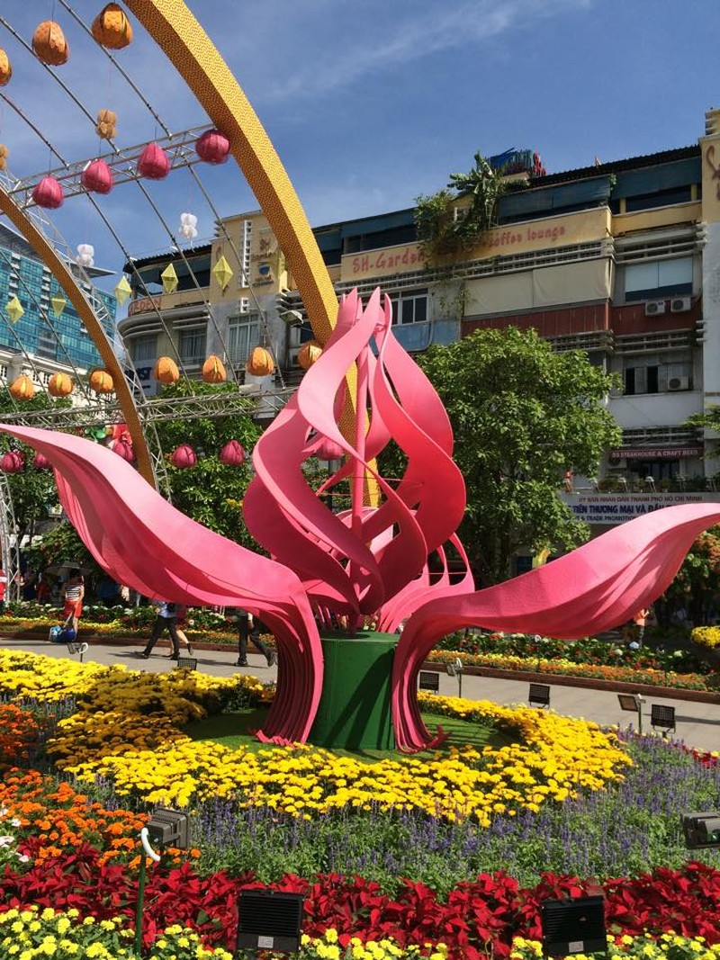 Ngắm đường hoa Nguyễn Huệ khoe sắc sáng 30 tết - ảnh 3