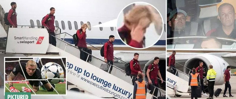 Cầu thủ Liverpool buồn bã, Karius che mặt bước xuống máy bay - ảnh 1