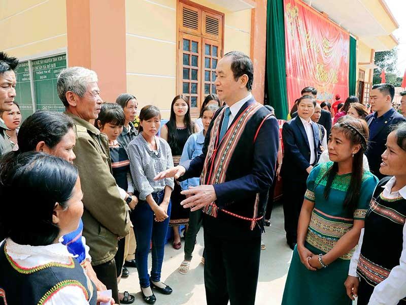 Chủ tịch nước thăm, làm việc, chúc Tết tại Kon Tum - ảnh 1